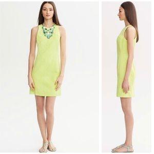 Banana Republic Neon Lime Jacquard Midi Dress